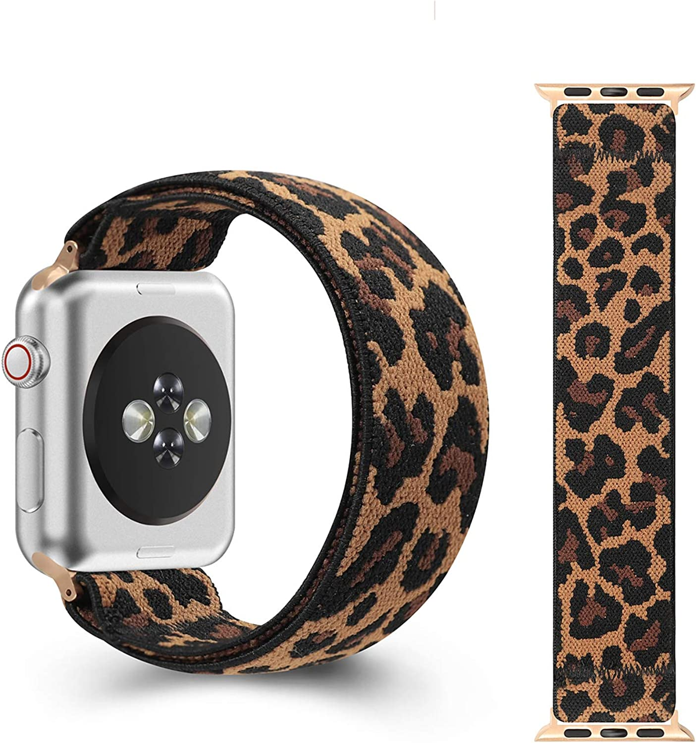 CreateGreat Classic Leopard Elastic Bands Compatible with Apple Watch 38MM,40MM, Double Side Pattern Stretch for iWatch Bands for Series 5 4 3 2 1 (38MM/40MM ONLY)