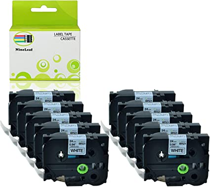 10 Pack 24mm Tz 251 TZe251 Black on White Label Tape For Brother P-touch PT-P700
