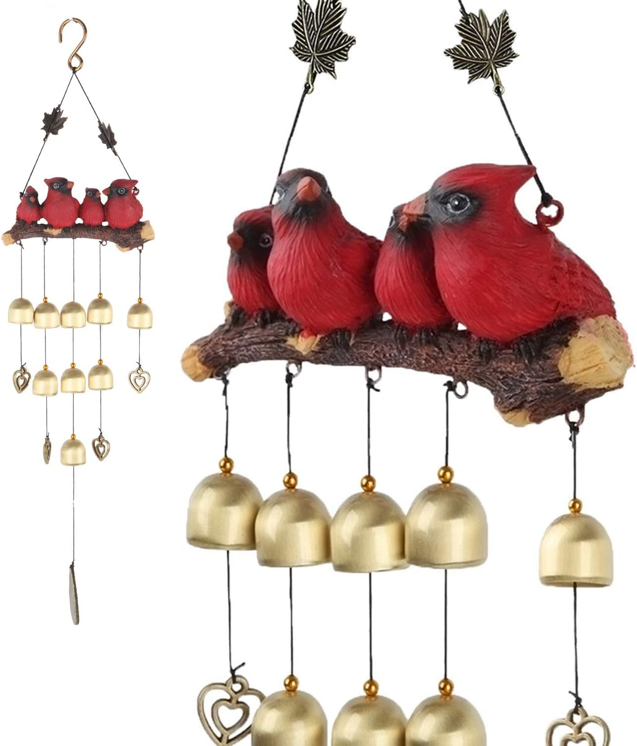 Gardenvy Cardinal Bird Wind Chime, Red Bird Bell Wind Chimes Outdoor Decorations, Garden Backyard Church Hanging Decor, Red