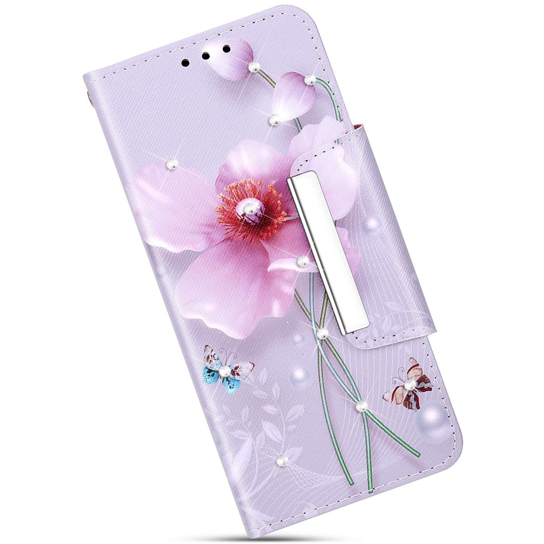 Felfy Compatible avec iPhone XR Housse Portefeuille,Compatible avec iPhone XR Coque Luxe Cristal Strass Motif Peint Etui Housse en Cuir Wallet Cover Case avec Fonction Support