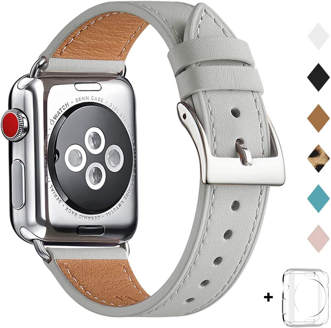 Bestig Band Compatible for Apple Watch 38mm 40mm 42mm 44mm, Genuine Leather Replacement Strap for iWatch Series 6 SE 5 4 3 2 1, Sports & Edition (Light Gray Band+Silver Adapter, 38mm 40mm)