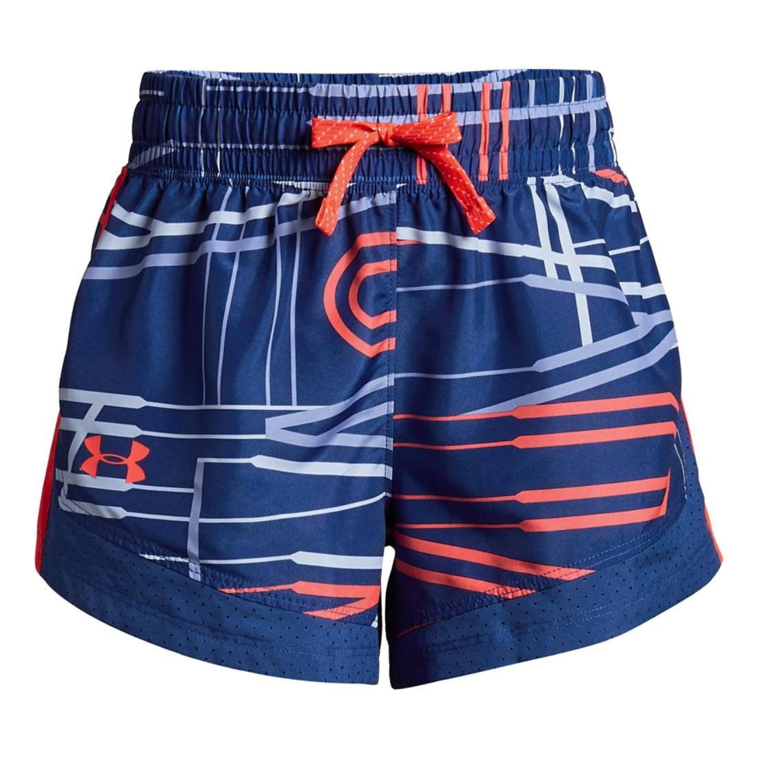 Girl's Under Armour Girls' Sprint novelty short, Formation Blue /Neon Coral, Youth X-Small by Under Armour