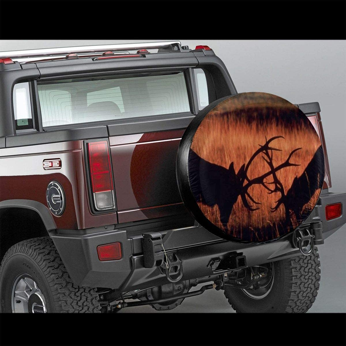 Truck and Many Vehicle Wheel Cover Spare Tire Cover Deer Fight Autumn Camper Rvs Trailer Tire Cover for Jeep SUV RV Trailer