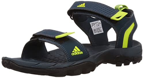 852696d2596f Image Unavailable. Image not available for. Colour  Adidas Men s Elevate  Dark Blue and Solar Yellow Athletic   Outdoor Sandals ...