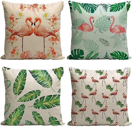 Tropical Pillow Covers flamingo Summer Soft Cotton Linen 18/'/'x18/'/' for Sofa Car