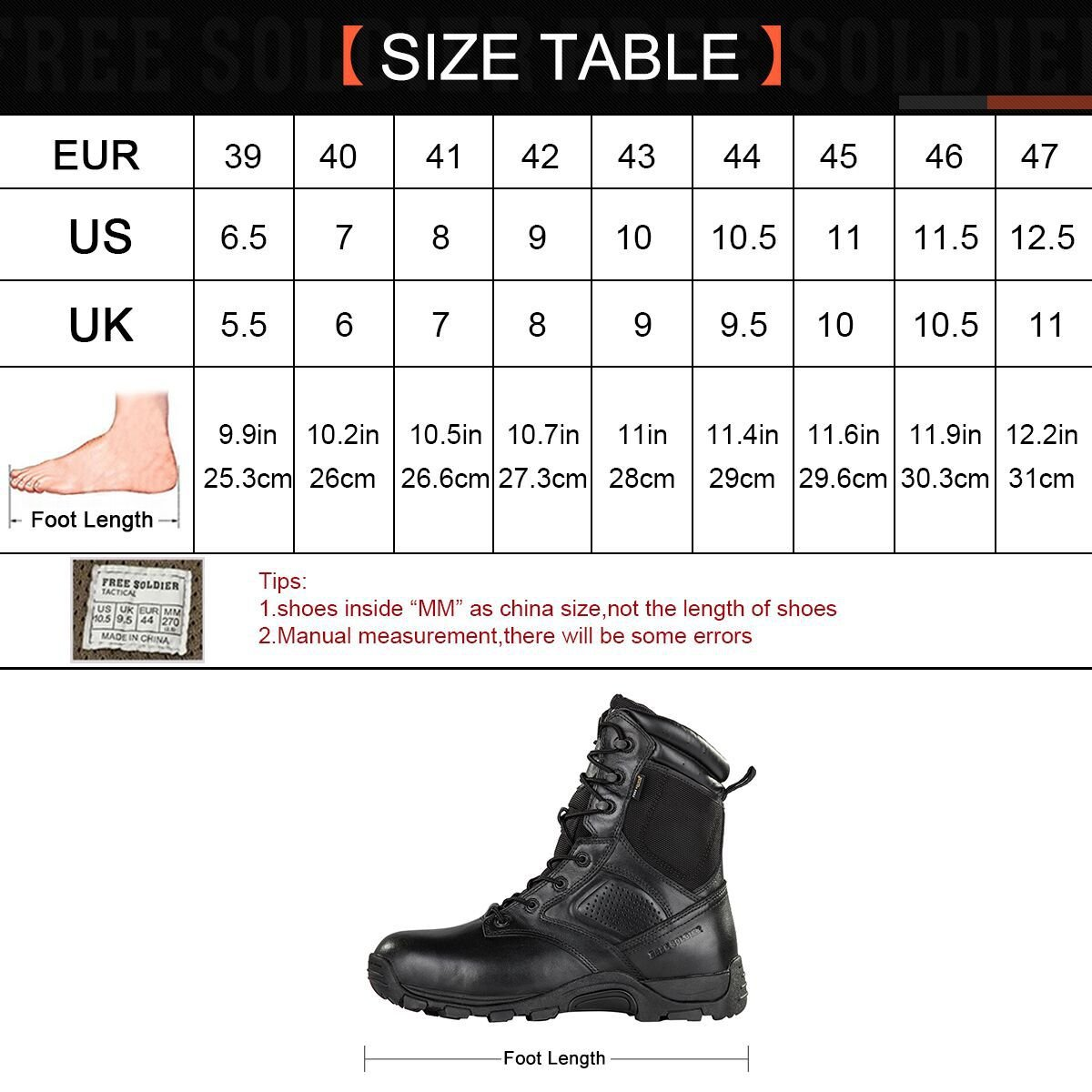Steel Toe Tactical Boots - FREE SODLIER Waterproof Shoes Penetration Resistant Composite Toe Combat Boot(Black 12.5) by FREE SOLDIER (Image #7)