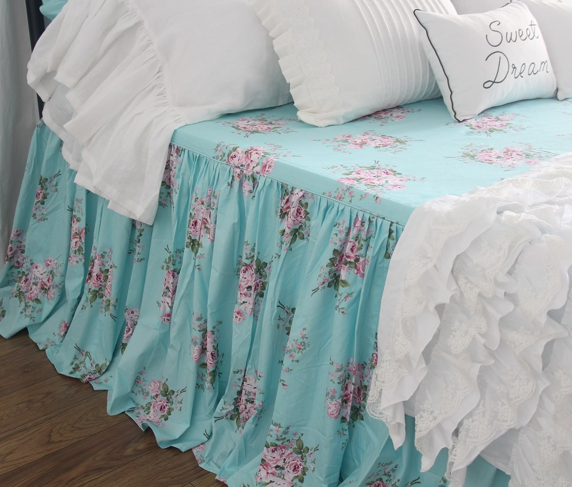 Victorian Chic Printed Bedspreads Coverlet Shabby Floral Bedspread Bedskirts