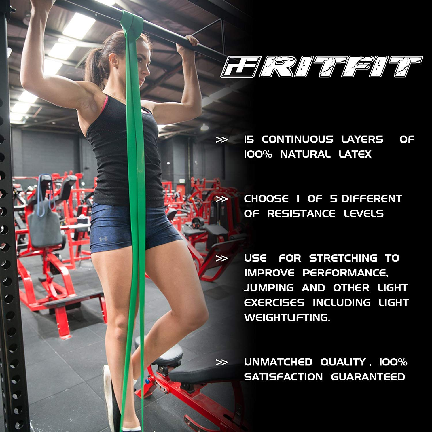 RitFit Pull Up Assist Band - Premium Resistance Band for Pull Up Assistance, Resistance Training, Body Stretching, Powerlifting, Mobility Training (#7 Four Levels of Resistance Combo Pack) by RitFit (Image #5)
