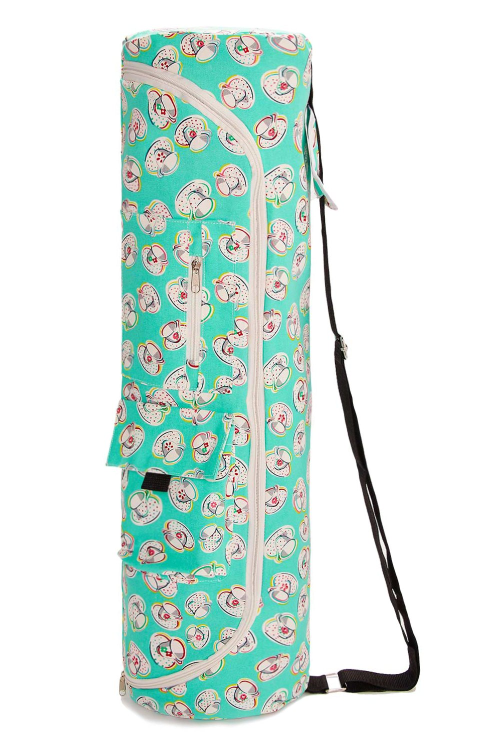 TUONROAD Yoga Mat Bag Printed Full-Zip Exercise Yoga Mat Carrier Bag with Adjustable Strap Extra Large Yoga Mat Sling Bag with Functional Storage Pockets for Women and Men