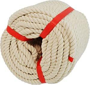 3/8 inch x 100 Feet Natural Soft Cotton Rope 3 Strand Twisted Rope for Wall Hanging, Decor Crafts Projects, Macrame Knotting and Home Decoration (Beige)