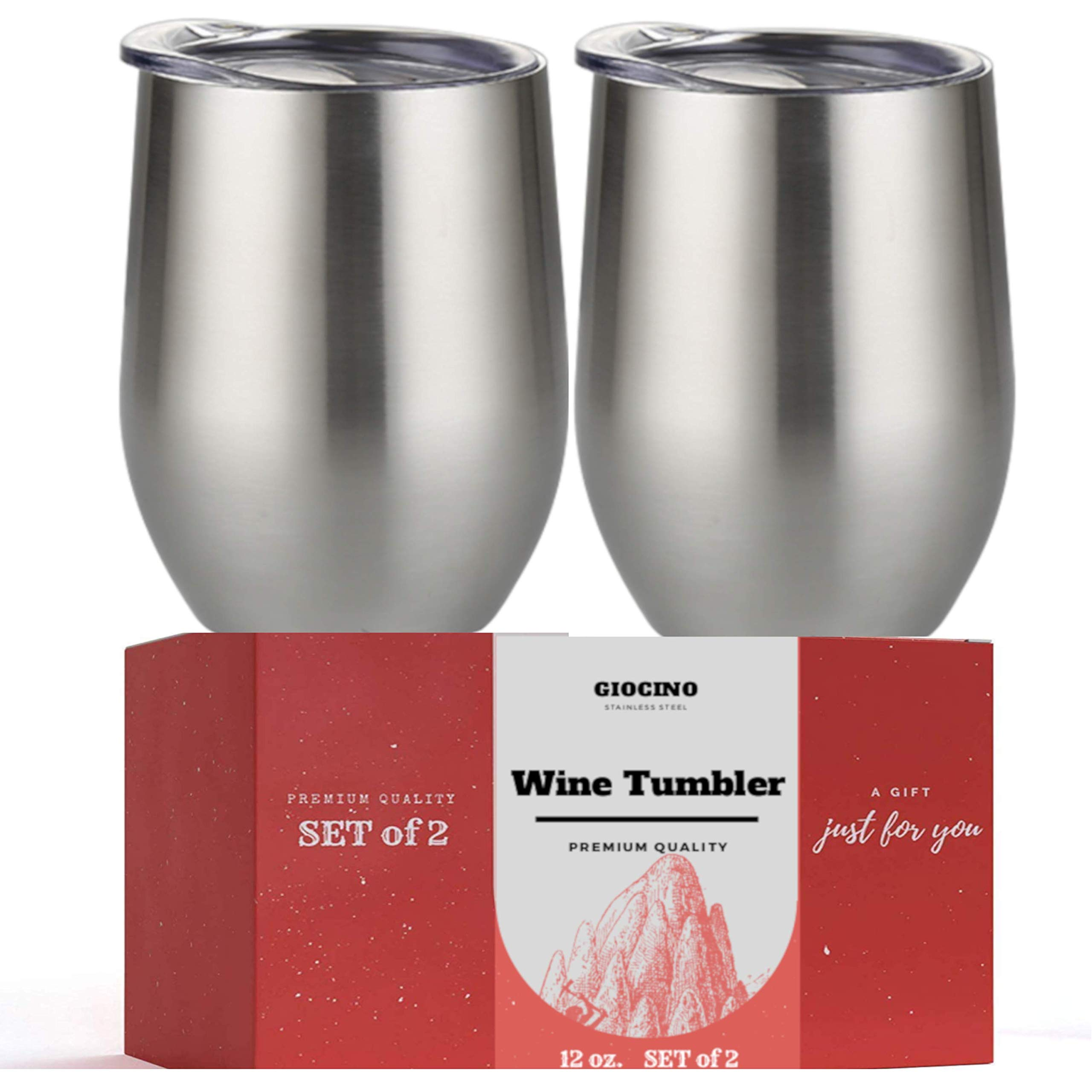 Wine Tumbler - Set of 2 - Stainless Steel Wine Glasses Vacuum Insulated Double Walled Stemless Wine Glass With Lid, 12 Ounce