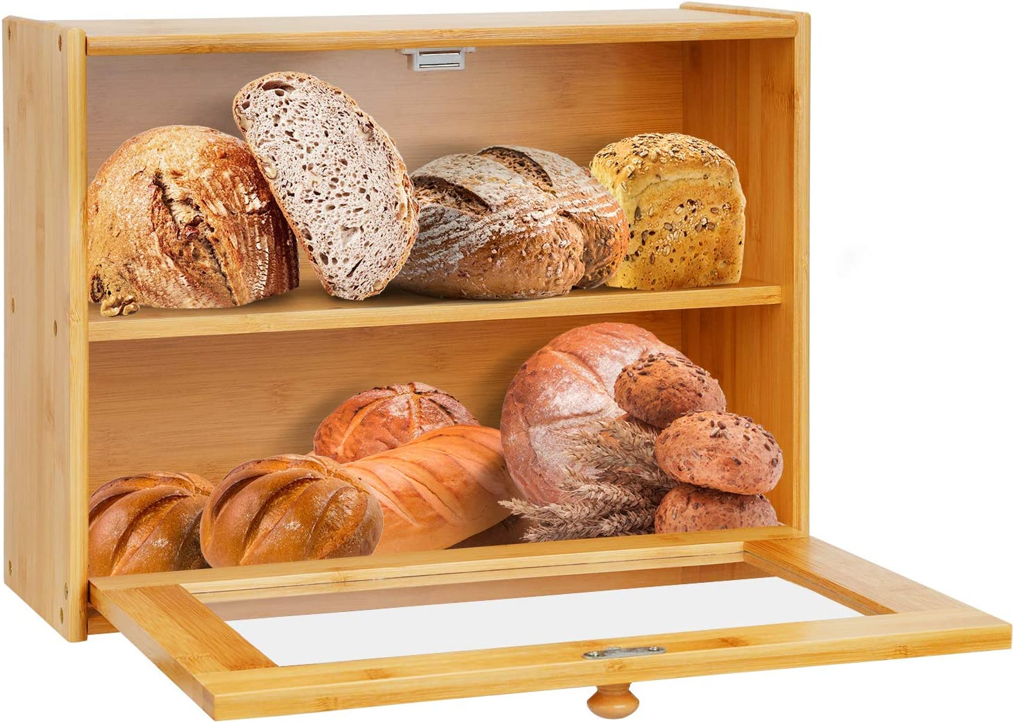 Bamboo Bread Box Countertop Bread Bin 2-Layer Dry Food Container Kitchen Storage Crock Tin Keeper with Drop Down Front Acrylic Window Pastries Loaf Storage Shelf Self-Assembly for Jam Dry Food Fruits