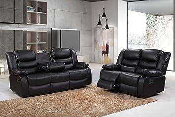 Luxury Living Roma - Juego de sofás reclinables de Piel 3+2+ ...