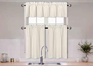 Better Home Style 3 Piece Solid Color 100% Blackout Kitchen Window Curtain Set with Tiers and Valance Solid Energy Efficient Thermal Room Darkening Drape Window Treatment # MKC  (Ivory)