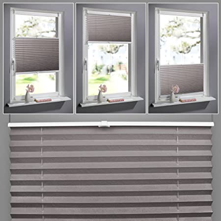 Shiny Home PVC Elegant Pleated Shades Venetian Window Blinds Trimmable Home  Office Blind Curtains   Coffee