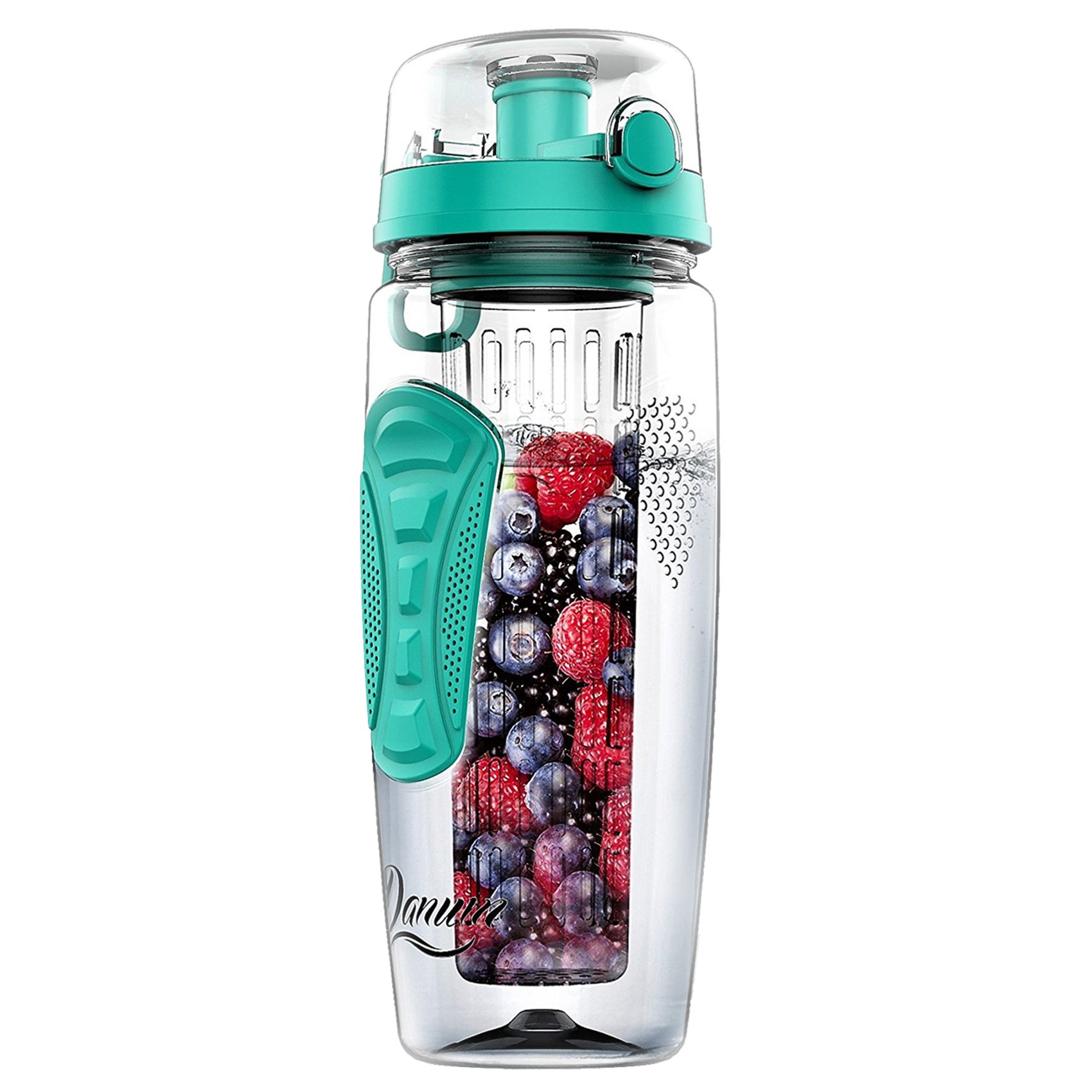 Danum Fruit Infuser Water Bottle Large 32oz by New Full Length Infusion Basket, Leak-proof, Flip-Top, Dual Hand Grips, made of BPA-Free Eastman Tritan with Multiple Color Options & Free Recipe Ebook