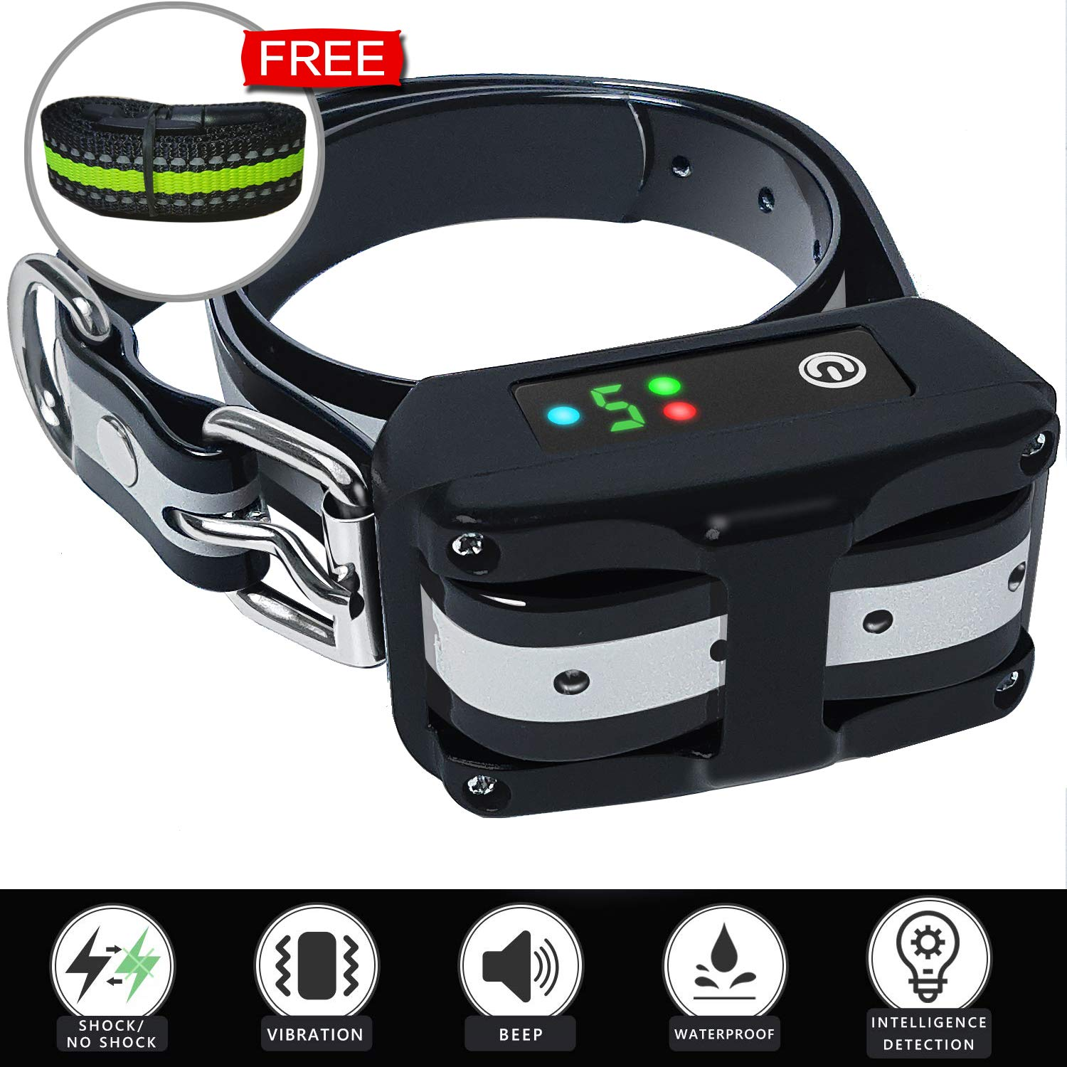 Dog Bark Collar [Upgraded 2019] - Rechargeable Anti Barking Smart Collar - Beep Vibration Shock/Not Shock Detection - Bark Collars Stop Barking for Small Medium Large Dog by CHANCH