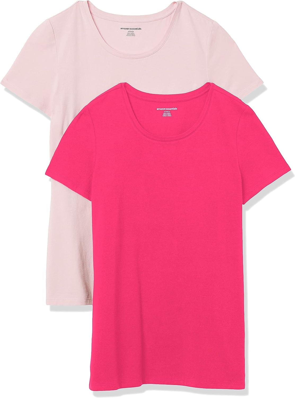Essentials Women's 2-Pack Classic-Fit Short-Sleeve Crewneck T-Shirt: Clothing