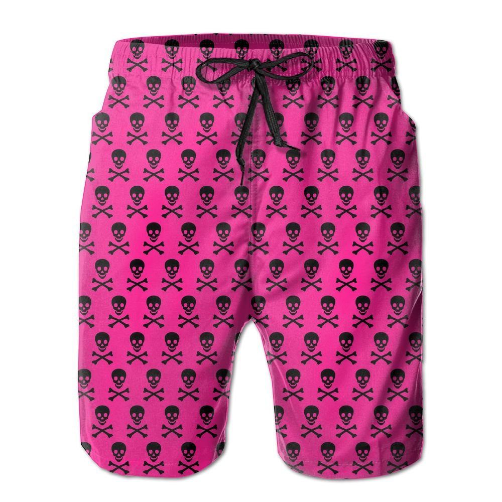 Tydo Skull Pattern Pink Mens Beach Shorts Loose Surfing Trunks Surf Board Pants With Pockets For Men