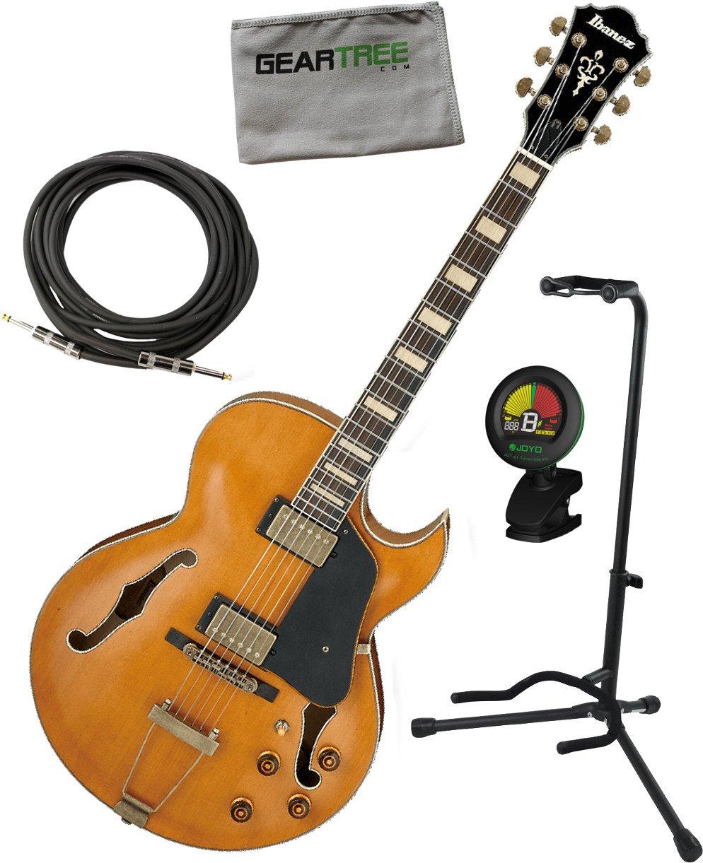 Ibanez akjv90ddal AKJ Artcore Vintage en estilo expresionista guitarra eléctrica oscuro ámbar bajo brillante w/cable, geartree gamuza, soporte, ...