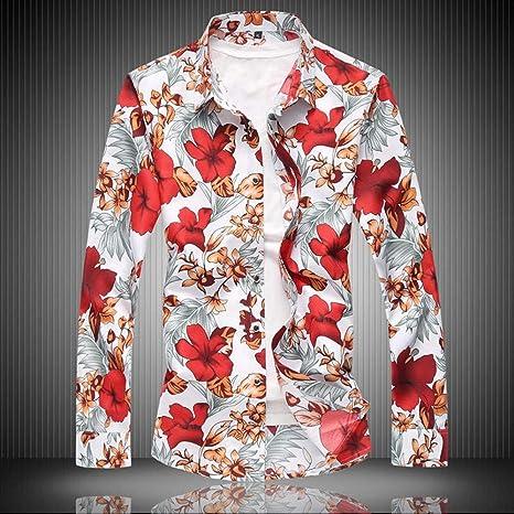 YAYLMKNA Camisa Camisa De Hombre Ropa De Manga Larga Estampado De Flores Camisas De Vestir para Hombre Camisa Masculina De Verano, 5XL: Amazon.es: Deportes y aire libre