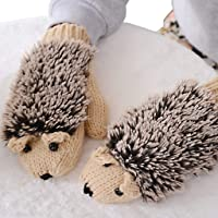 Junlinto Womens Cartoon Hedgehog Gloves Thicken Winter Hand