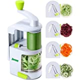 Spiralizers for Vegetables - ChefSpies Upgraded Vertical Built-in 4-in-1 rotating blades Spiralizer - Heavy Duty Spiralisers- Perfect vegetable Spiralizer, Spiral Slicer and Cutter for Zucchini Noodle, Veggie Pasta & Courgette Spaghetti Maker for Low Carb, Paleo and Gluten-Free Meals