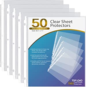 Ktrio 50 Pack Sheet Protectors 8.5 x 11 Inches Clear Page Protectors for 3 Ring Binder, Plastic Sleeves for Binders, Top Loading Paper Protector Acid Free Letter Size
