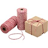 Natural Cotton Bakers Twine, Packing String, Durable Rope for Gardening, Decoration, Tying Cake and Pastry Boxes, Silverware, DIY Crafts & Gift Wrapping, for Art and Crafts (Red & White)