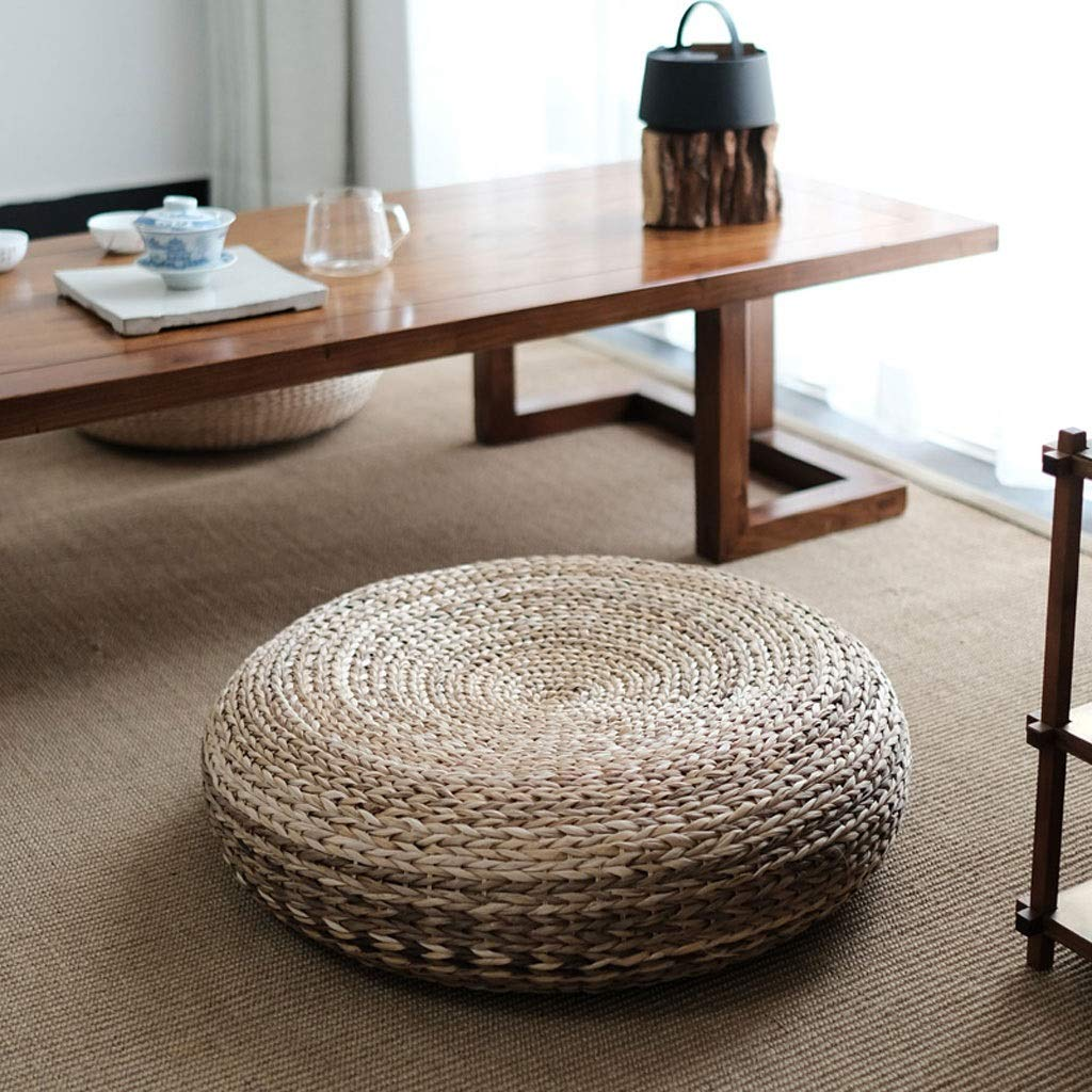 B 60x17cm RXY-Wicker chair Japanese Style Straw Futon Cushion, Home Thickening Tea Ceremony Rattan Tatami Mat Floor Grass Mat (color   A, Size   50x17cm)