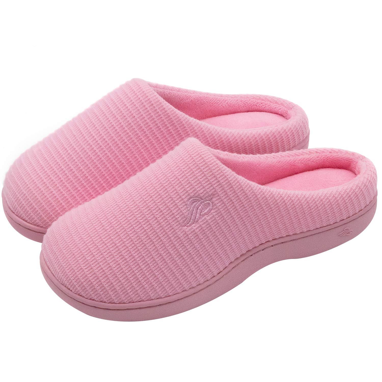 Wishcotton Women's Breathable Cotton Memory Foam House Slippers w/Indoor Outdoor Sole Pink Medium