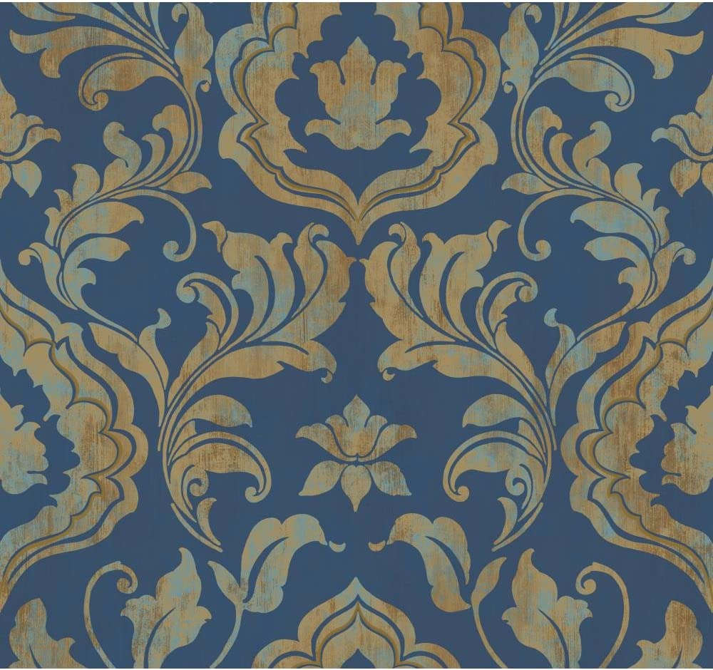 York Wallcoverings Gf0705 Gold Leaf Contempo Damask Wallpaper