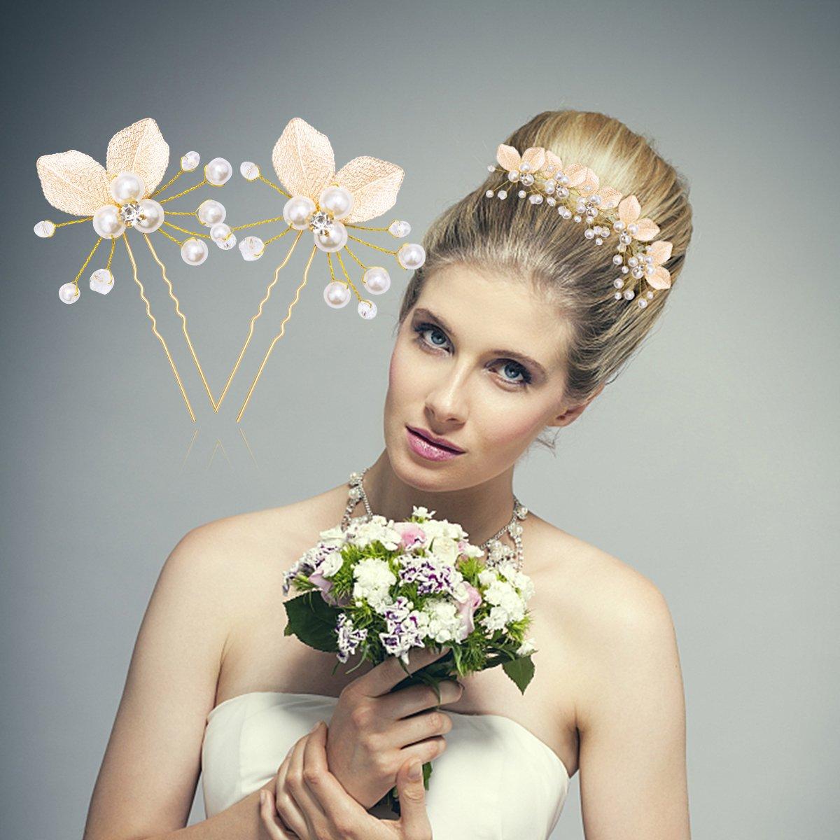 Yariew 10 Pieces Wedding Flower Hair Pins Leaf Bobby Pins U Shaped