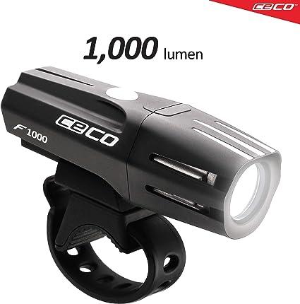 CECO-USA 1,000 Lumen USB Rechargeable Bike Light Tough /& Durable IP67 Wate...