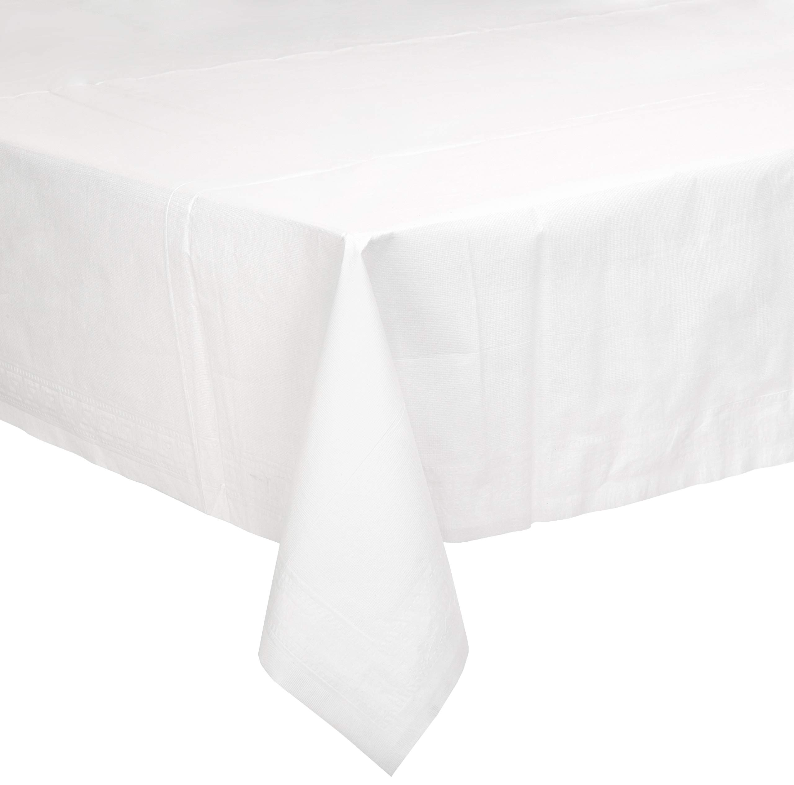 AmazonBasics Poly-Lined Paper Tablecloth, 54'' x 108'', White, 25-Count