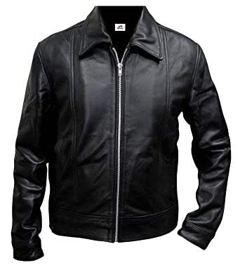 e363fca86c36 ST Classic Leather Jacket Men Black Zipfront Californication 7 Hank Moody  Faux Coat Slim Fit Big Tall at Amazon Men's Clothing store: