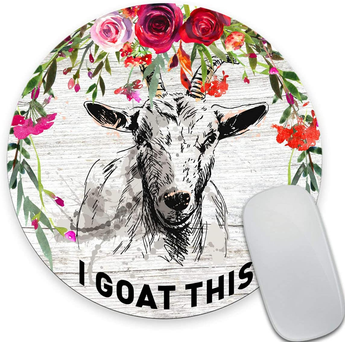 Smooffly I Goat This Quote Cute Round Mouse Pad, Office Desk Accessories, Goat Mouse Pad, Desk Decor, Funny Office Gifts,Vintage Colored Floral Circular Mouse Pads for Computers