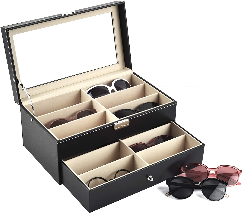 12 Slot Sunglasses PU Leather Box Glasses Grid Storage Organiser Display Case