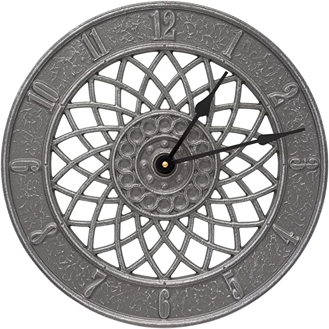 BestNest Whitehall Spiral Clock /& Thermometer Package Pewter//Silver