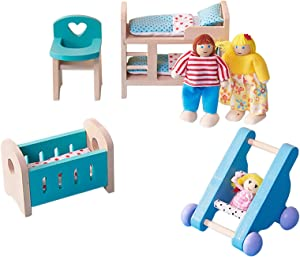 Grebest Wooden Doll House Miniature Furniture Baby Room Set Little Friends Children's Nursery Room Models DIY Assembled Toys with Chair Bed Stroller Doll House Accessories for Toddlers(1#)