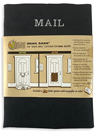 SNAIL SAKK: Mail Catcher For Mail Slots   BLACK. No Tools/screws Necessary
