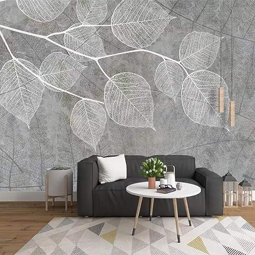 Papier Peint Mural 4D Personnalisée,Feuilles Gris ...