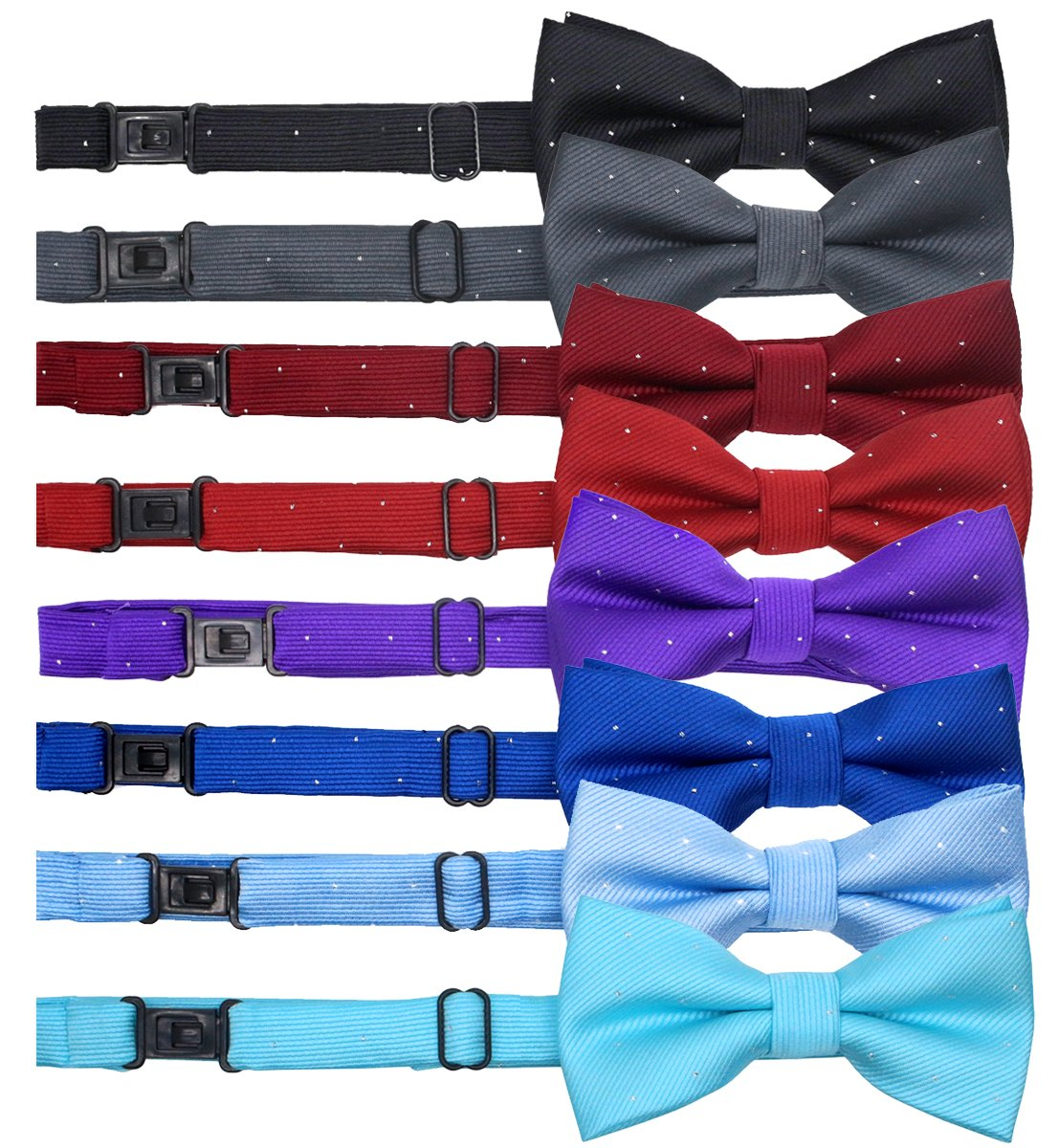 YOY Handcrafted Adorable Pet Bow Ties - 8-pack Adjustable Neck Tie 10''-17'' Polka Dots Bowties Dog Collar Neckties Kitty Puppy Grooming Accessories for Doggy Cat, 8 Colors (Genteel)