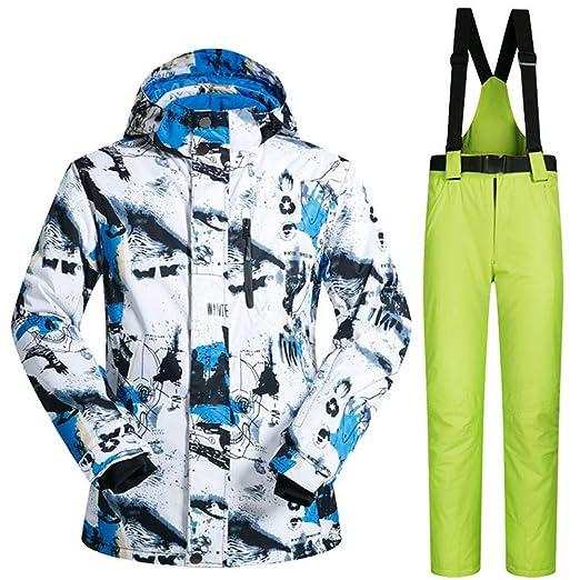 HXSKI Chaquetas de esquí para Hombres, Traje de Nieve Impermeable ...