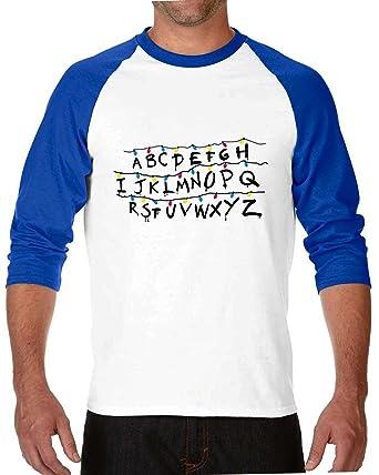 Amazoncom Stranger Things 2 Alphabet 34 Sleeve Raglan Tshirt Wq