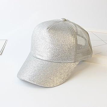 10bc1902b28 JIUZHOUCAI Glitter Ponytail Baseball Cap Summer Women Mesh Trucker Hats  Messy Bun Sequin Shine Hip Hop