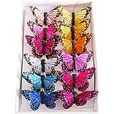 Factory Direct Craft Blue Glitter Tinsel Butterflies12 ButterfliesDesigned