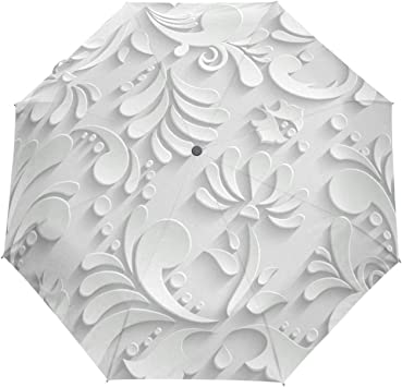 Automatic 3D Flower White Chinese Sunumbrella Anti-ultraviolet Outdoor