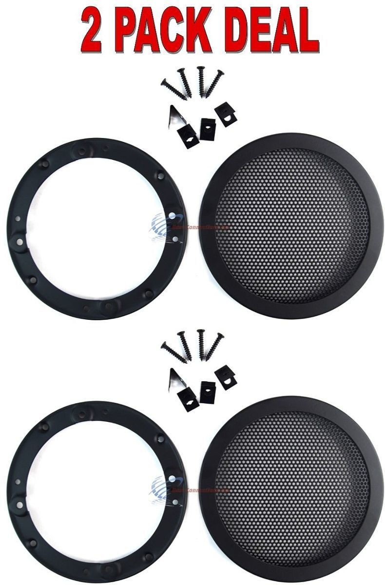 2 PCS 4.5'' INCH CAR SPEAKER WOOFER STEEL MESH GRILL WITH SPEED CLIPS AND SCREWS