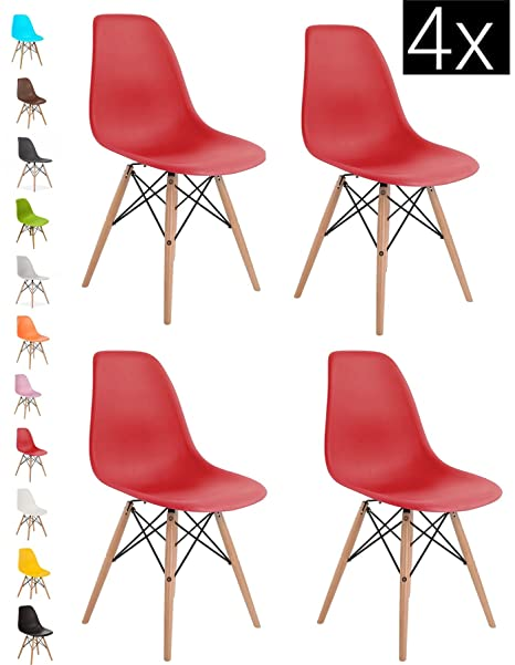 Wondrous Bravich 4X Red Como Eiffel Dining Chair Plastic Wooden Leg Retro Lounge Chairs Modern Furniture Office Desk Andrewgaddart Wooden Chair Designs For Living Room Andrewgaddartcom